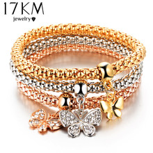 17KM 2016 hOT 3 PCS/Set Crystal Butterful Bracelet & Bangle Elastic Heart Bracelets For Women pulseira masculina