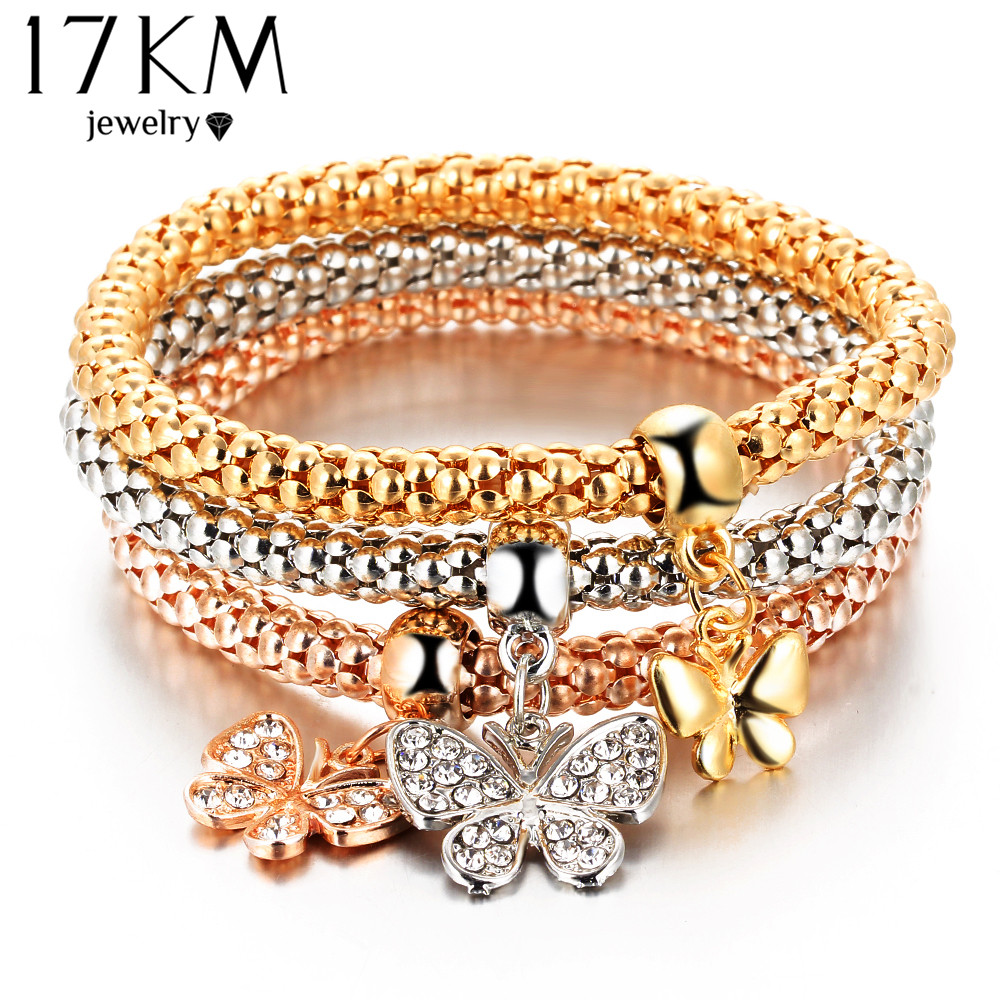 17KM 2016 hOT 3 PCS/Set Crystal Butterful Bracelet & Bangle Elastic Heart Bracelets For Women pulseira masculina Fine Jewelry