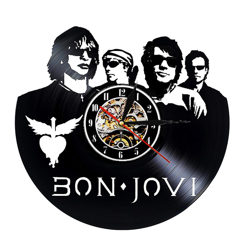 Vintage Vinyl Record Wall Clock Modern Design Bon Jovi American Rock Band Music Clocks Wall Watch Home Decor Gifts For Fans
