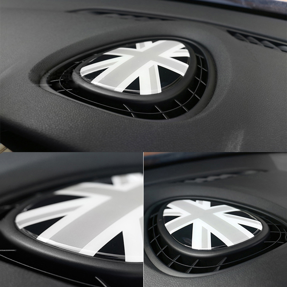 Dashboard A/C Vent Outlet 3D Crystal Union Jack Epoxy Sticker Decal Internal Decoration Car Styling For Mini Cooper F54 F55 F56 2pcs set union jack rear trunk door handle covers decoration sticker for mini cooper jcw f54 clubman car styling accessories