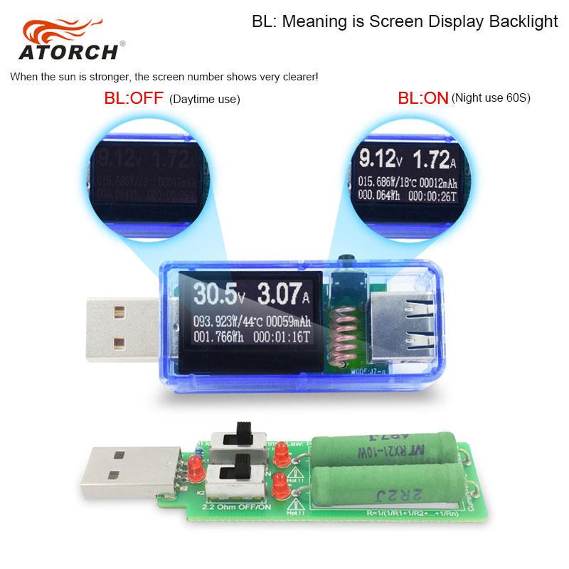 ATORCH USB testeris + apkrova DC Skaitmeninis voltmetras amperimetro - Matavimo prietaisai - Nuotrauka 4