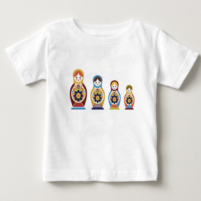 Russian Dolls Owl Print Funny Children T shirt Summer Tops Short Sleeve Boys/Girls Clothing Animal Baby Kids Tees tops 3T-8T  NN