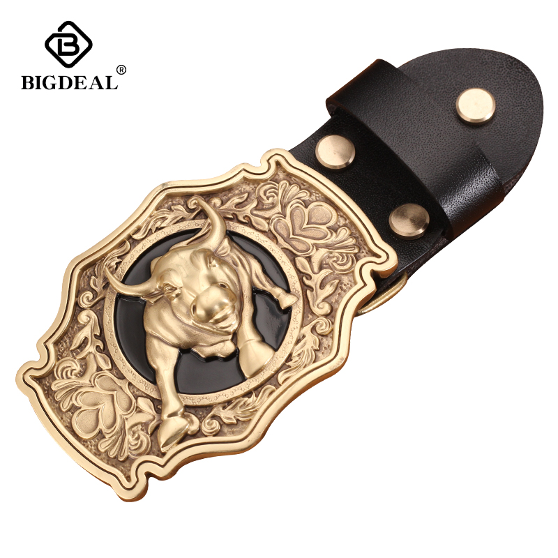 Retail New Style High Quality 3D Bull Solid Brass Men Belt Buckle With 85*61mm 141g Metal Cowboy Belt Head For 3.8cm Wideth Belt