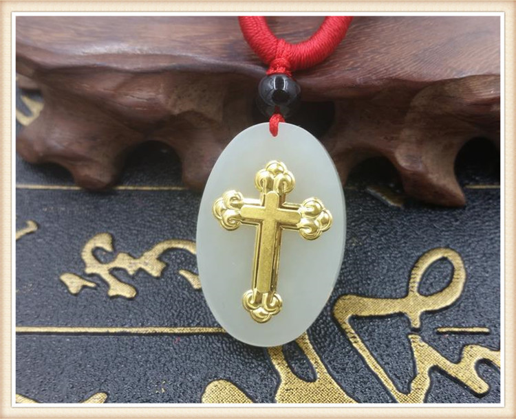 Hot selling natural hetian jade gold cross pendant necklace men's and women's jewelry gift amulet
