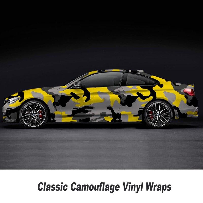 Classique jaune camo Film d'enveloppe de vinyle Avec L'air Libre Véhicule Graphique n'importe quelle taille pour voiture Taille standard: 1.52*5/10/15/20/25/30 mètres