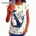 Fashion Summer Anchor Pattern T Shirt Women Letter Print Slim Cotton Casual Tops T Shirts Tee Women Clothes