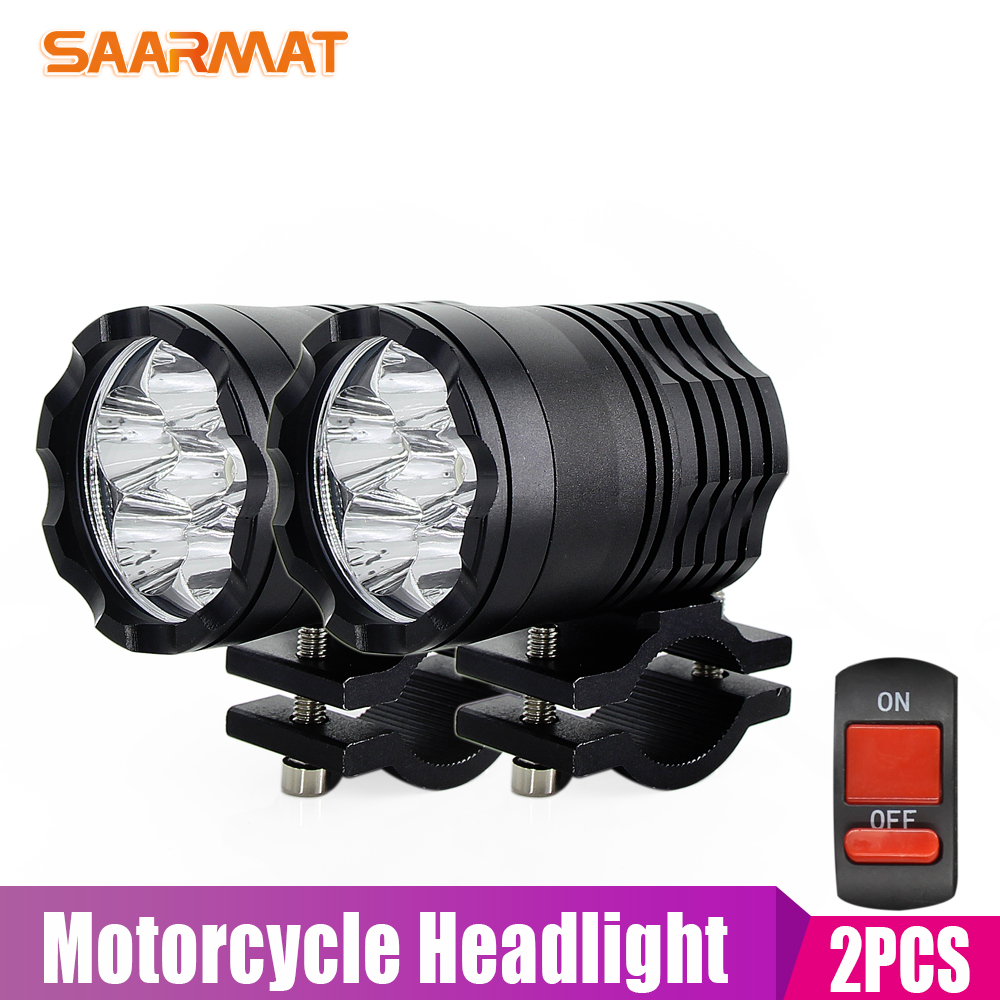 2X  SAARMAT Motorcycle LED Headlight u3 For Cree Chips Waterproof Driving Spot Head Lamp Fog Light Switch Moto Accessories 6000K air dragon portable air compressor