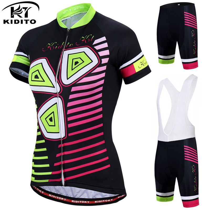 KIDITOKT Women Short sleeve Summer 100% Polyester MTB Bike Shirt Bicycle Clothes Cycling Clothing 2018 Girl Cycling Jersey Sets