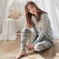 2016 Otoño Invierno Para Mujer Pijama O-cuello de Manga Larga Mujer ropa de Dormir pijamas de Las Muchachas Mujer Pijama Femme Plus Tamaño Ml XL XXL