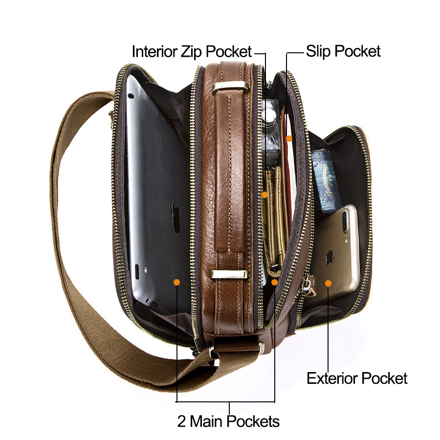 CONTACT'S casual men's messenger bags genuine leather shoulder bags for man luxury brand male crossbody bag fashion for ipad 3