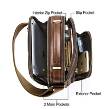 Casual men's messenger bags genuine leather