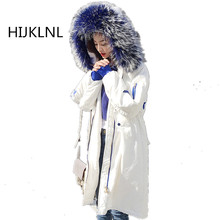 2019 New Womens Winter Down Jacket Super Large Fur Collar Loose Fashion Long Coat Size Embroidery Hooded Warm Outer Tq021