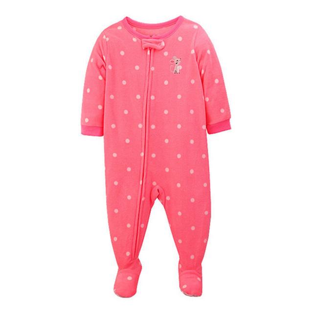 2017 Outono Nova Lã Macia Do Bebê Lindo Macacão Rosa Dot Meninas Do Bebê Infantis Zipper Jumpsuit Pagado Macacão Frete Grátis