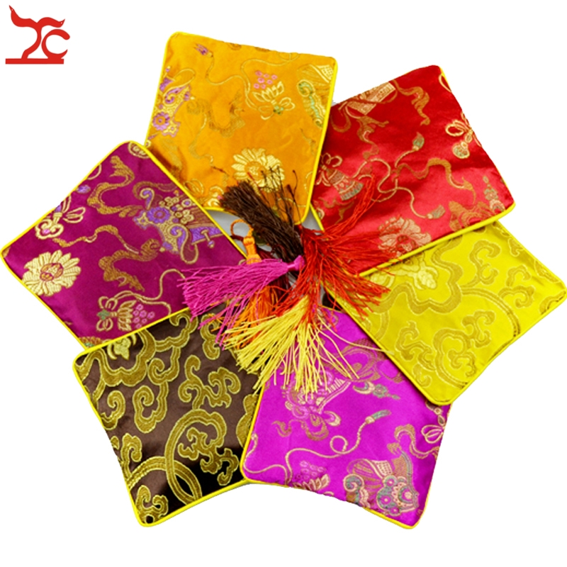 100pcs 4 1 2 Square Chinese Silk Jewelry Pouch Display Packaging Colorful Pouch Zipper Wedding Party