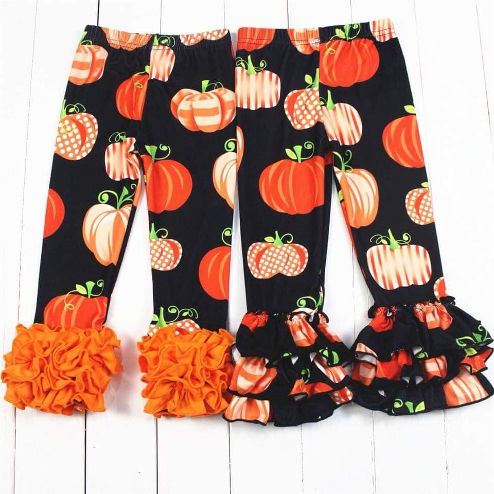 pumpkin prints icing cotton leggings triple ruffle baby pants wholesale kids boutique clothes halloween цена 2017