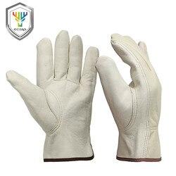OZERO новые мужские рабочие перчатки из козьей кожи, Защитные режущие рабочие ремонтники, гаражные гоночные перчатки для мужчин 0013