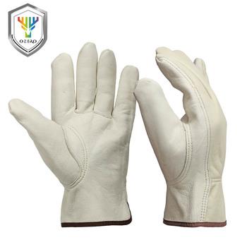 OZERO nowe męskie rękawice robocze kozia skóra ochronny zabezpieczający bezpieczeństwo cięcie praca mechanik rękawice wyścigowe 5015 tanie i dobre opinie Skórzane CN (pochodzenie) RĘKAWICE ROBOCZE Apricot Goatskin Welding gloves Riggers gloves Nylon protective gloves Work safety gloves