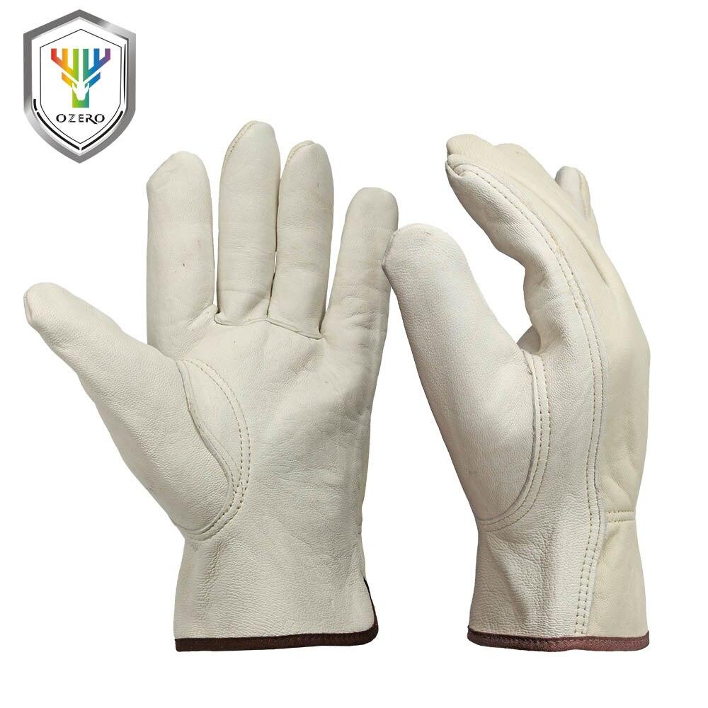 OZERO nuevos guantes de trabajo de hombres de cuero de cabra protección de seguridad de corte de seguridad de trabajo Repairman Garage Racing guantes para hombres 0013