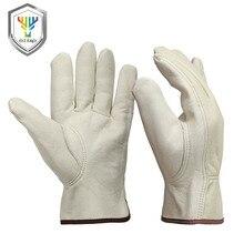 OZERO חדש גברים של עבודת כפפות עור עיזים אבטחת הגנת בטיחות חיתוך עבודה טכנאי כפפות מירוץ 5015