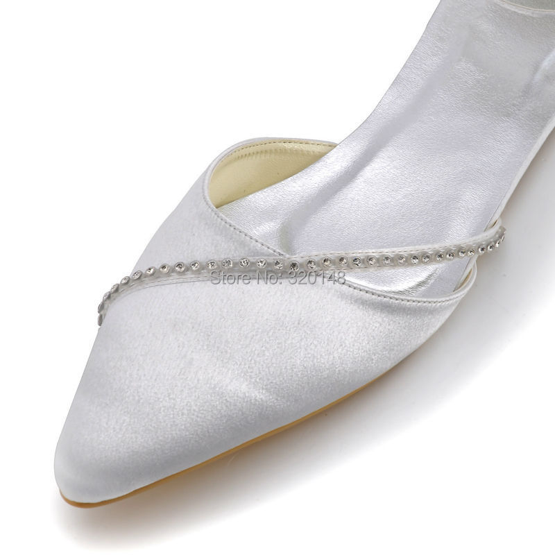 Women Wedding Shoes White A670 Pointed Toe Rhinestones Ankle Strap Satin Wedding  Bridal Flats-in Women s Flats from Shoes on Aliexpress.com  b0610e1d7419