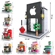 8 Sets New Hsanhe Scene Mini Building Blocks street Toys Architecture Nanoblocks Brinquedos Kid Educational Toy Compatible legoe