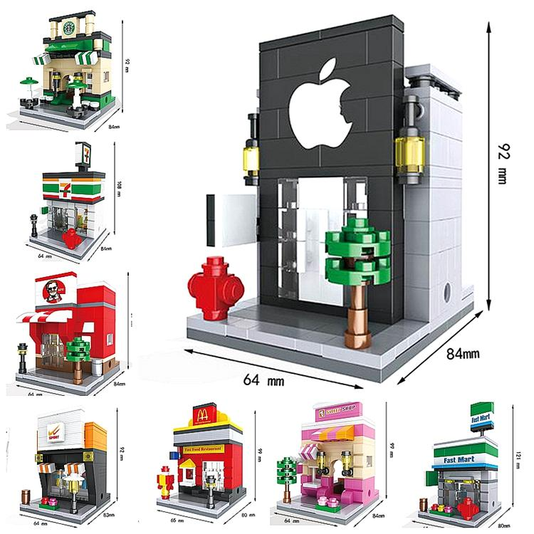 8 Sets New Scene Mini Building Blocks street Toys Architecture Brinquedos Kid Educational Toy Compatible brand