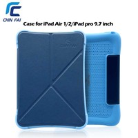 ZH 5169 2 In 1 Multi Function Silicone Cover For IPad Pro 9 7 Blue Black