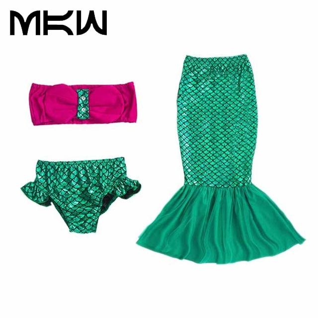 Kiqoo 3 unids Set Ruffle Gorros Chicas Cola Princesa Ariel Sirenita Tail Cosplay Bebé Niños Colas Sirena Bikini