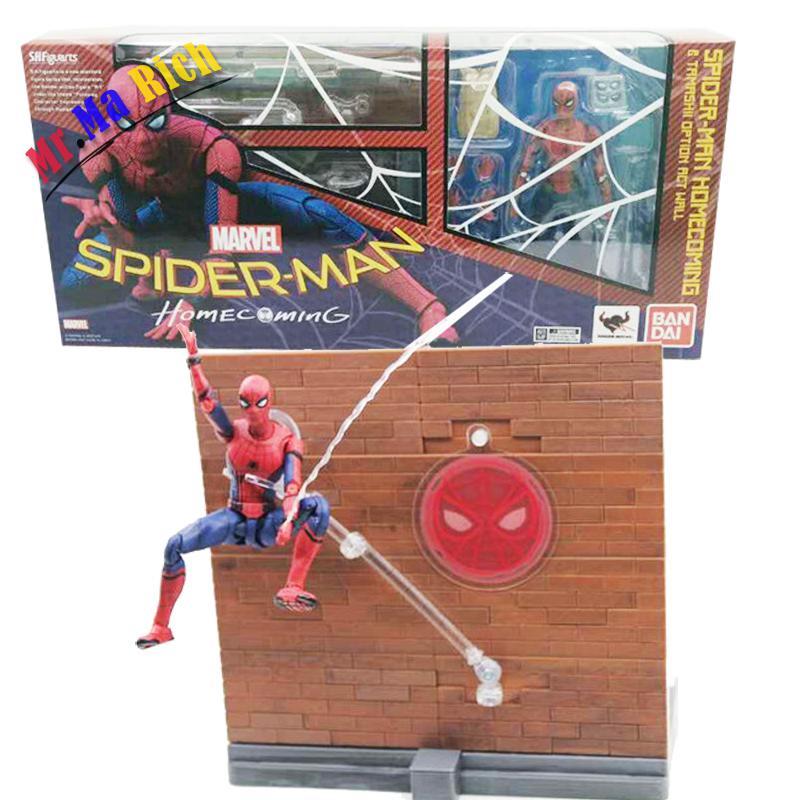 Spider Man Figura Homecoming Tamarshii Opzione Atto Della Parete Spiderman Action Pvc Figure Da Collezione Model Toy15Cm
