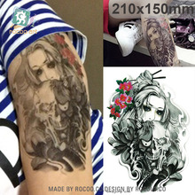 Men The Waterproof Tattoo Custom Horror Ghost Skeleton Head Male Large Flower Arm Can Be Customized Lc2834
