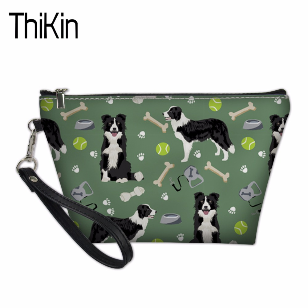 THIKIN Women Makeup Bag Cosmetic Case Make Up Organizer Toiletry Storage Neceser Border Collie Fans Printed Travel Wash Pouch ladsoul 2018 women multifunction makeup organizer bag cosmetic bags large travel storage make up wash lm2136 g