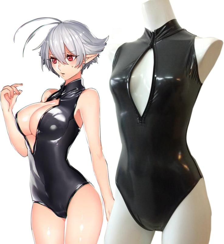 Anime Cartoon Cosplay Man Woman Halloween Japanese PU Black Sexy swimsuit Cosplay Costume