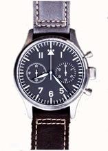 Seagull mvt Flieger montre-bracelet pilote homme saphir bleu chauffant b-uhr chronographe