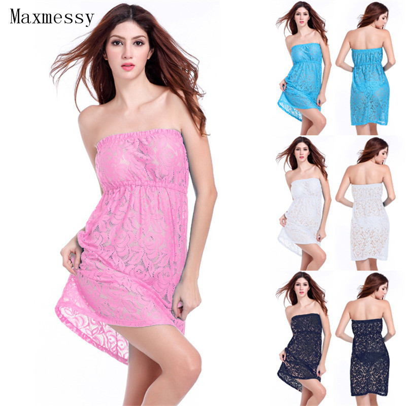 Maxmessy Women Tube Top Bathing Suit Cover Ups Beach Strapless Dress Lace Hollow Bikini Outside Blouse Tunics for Beach MC259