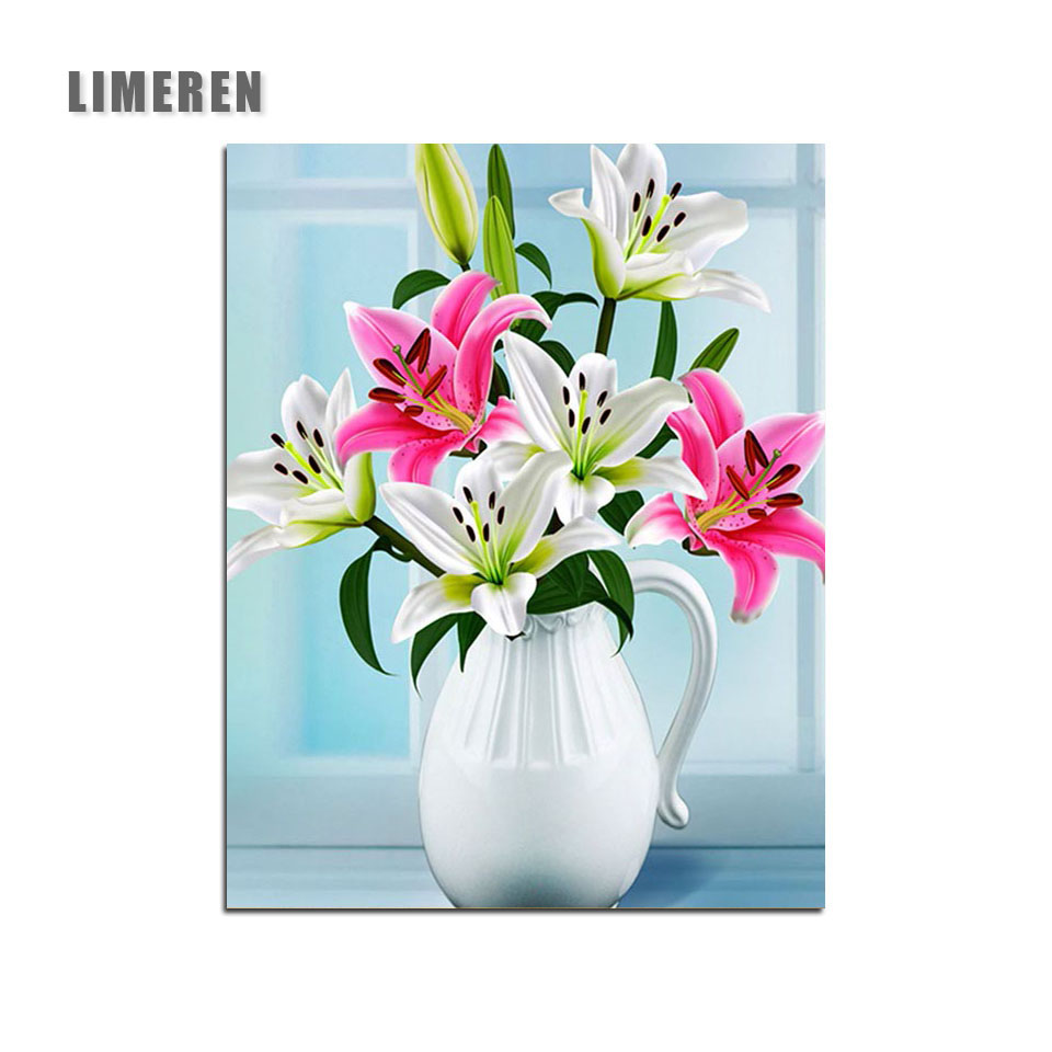Flowers Lilies In Vase DIY Hand Painted Canvas Oil Coloring By ...