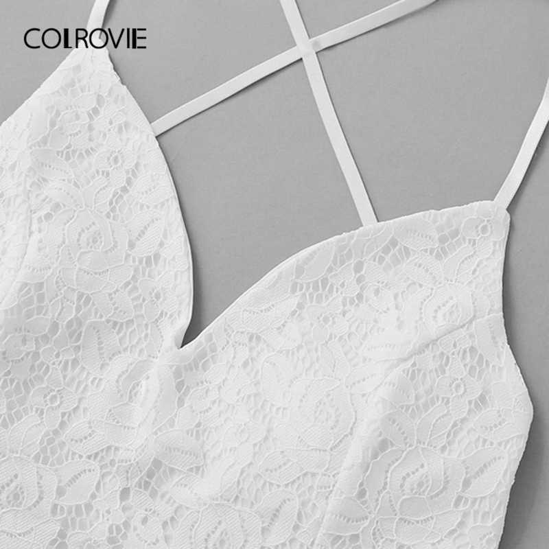 Colrovie branco decote em v criss cruz volta painel de renda plant print sem mangas boho vestido feminino 2019 verão deslizamento queimado vestidos curtos