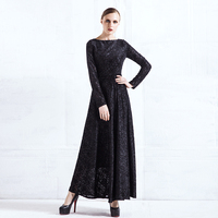 2017 High Quality Lace Black Dress Women Long Sleeve Maxi Dresses O Neck Fit Flare Longue