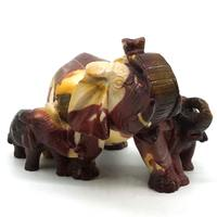 6.18 Inch Mookaite Crystal Elephant Groups Carved Figurine Stone Chakra Healing Reiki Stone Feng Shui Crafts Home Office Decor