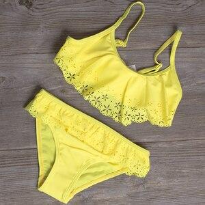 2019 Girl Swimsuit Two Pieces Children's Swimwear Swim Suits Children Split Hollow Falbala Bikini Sets Bathing Suit G1-CZ912(China)