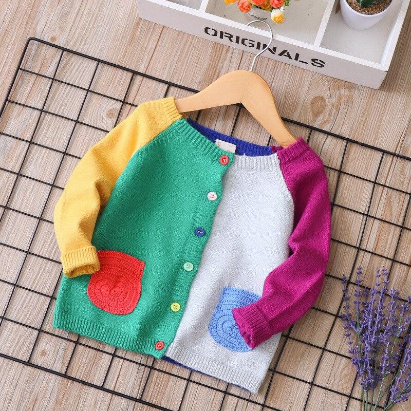 2019 новый весенний хлопковый свитер, верхняя одежда для маленьких детей, вязаный кардиган для мальчиков и девочек, детский однобортный Карди...