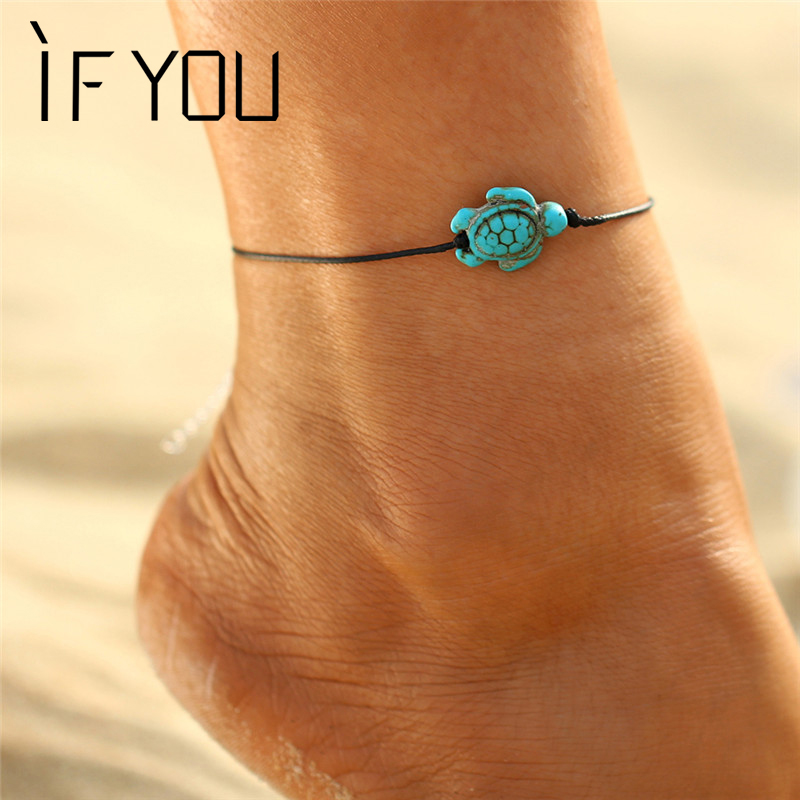 IF YOU Vintage Animal Turtle Bracelet Anklet Foot Jewelry Women Ankle Leg Summer Anklets Jewelry Chain Bracelet Fashion Jewelry
