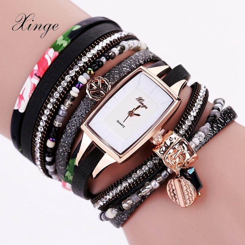 Xinge Women's Watch Fashion Black Leather Bracelet Watch Feather Design Crystal Quartz Wristwatches Women Wrist Watch Gift Clock fashion split leather band quartz analog bracelet wrist watch for women black 1 x 377
