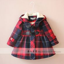 baby girls button Plaid hooded thin cotton coat jacket children clothing wholesale 6pcs/lot