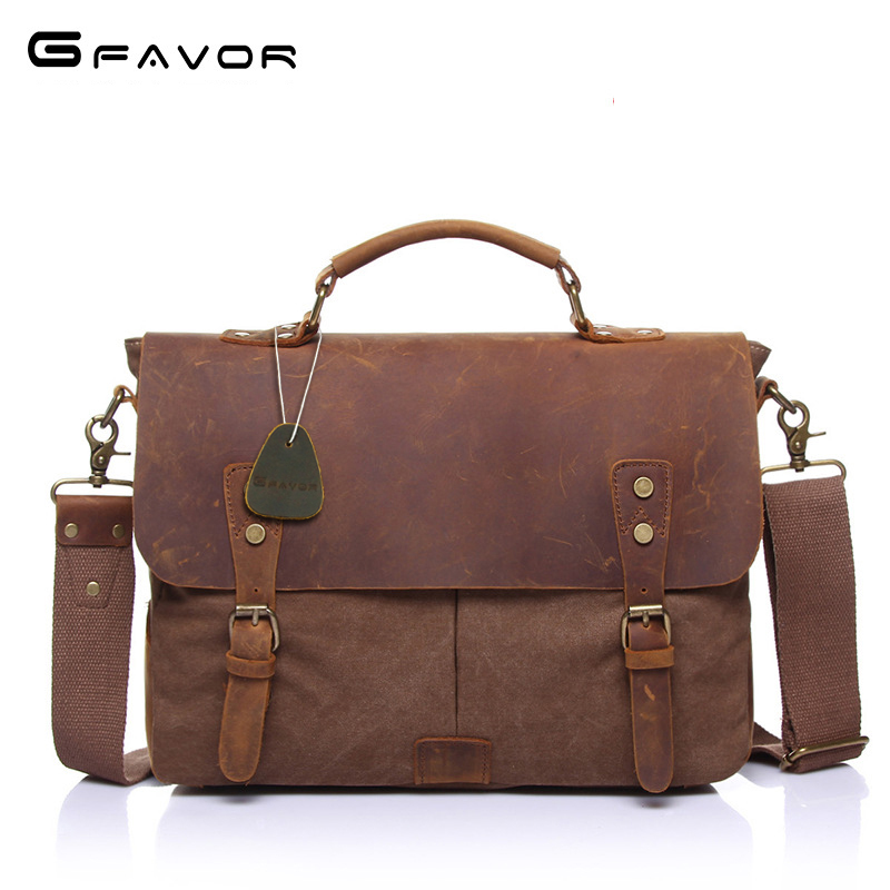 Vintage Canvas Handbags Men Shoulder Bag Crazy Horse Leather Casual Crossbody Bag Men's Travel Bags Laptop Briefcase Bag Totes canvas leather crossbody bag men briefcase military army vintage messenger bags shoulder bag casual travel bags