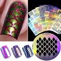 1 Pc ahueca hacia fuera el arte de uñas DIY consejos guías transferencia pegatinas accesorios francés consejos manicura pegatina Decoración