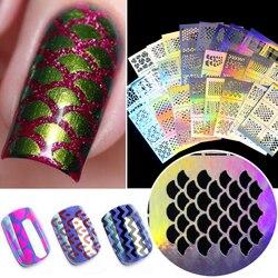 1Pc hueco de uñas de arte puntas DIY guías transferencia pegatinas accesorios puntas francesas para manicura decoración etiqueta