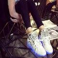 Los hombres de Alta Superior Zapatos 2016 Moda Luminoso Led Brillantes Zapatos Para Adultos Hombre Bordeado Lumineuse Chaussure Zapatillas De Mujer
