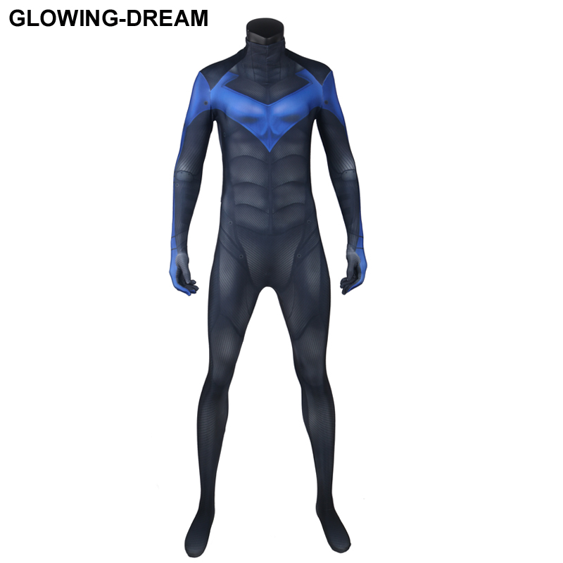 High Quality Night Wing Cosplay Costume With U-zipper Black 3D Muscle Shade Night Wing Zentai Suit For Halloween Party