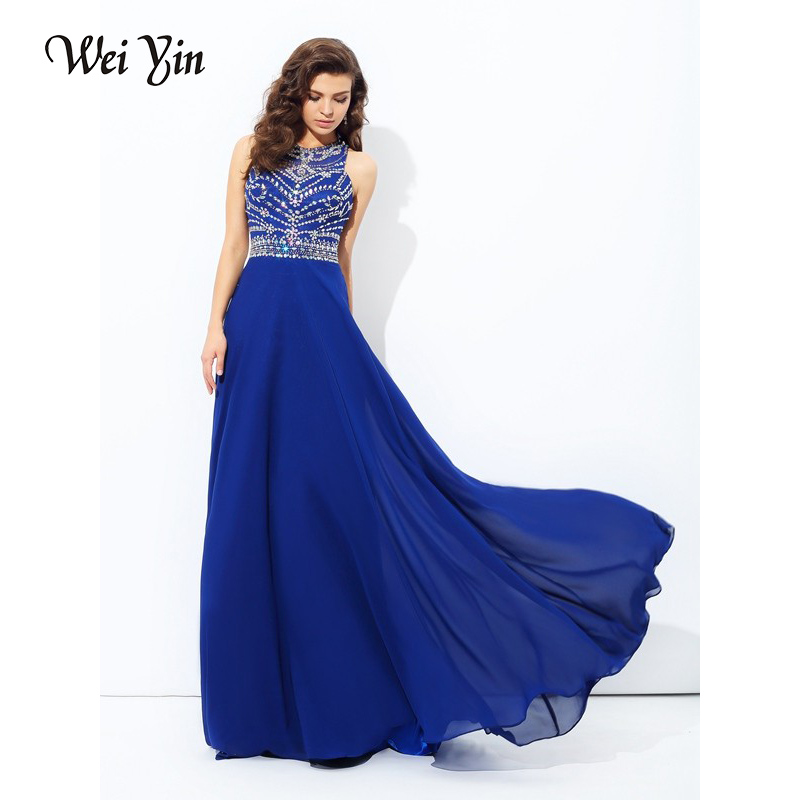 WEIYIN New Style Beading Crystal Evening Dresses Real Photos Sleeveless O Neck Custom Make Royal Blue Color Prom Gowns