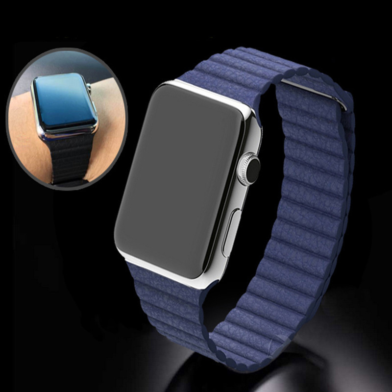 100% Brand New Pop Leather Loop Type Watchband for iwatch Strap Magnetic Buckle for Apple Watch 38mm/42mm